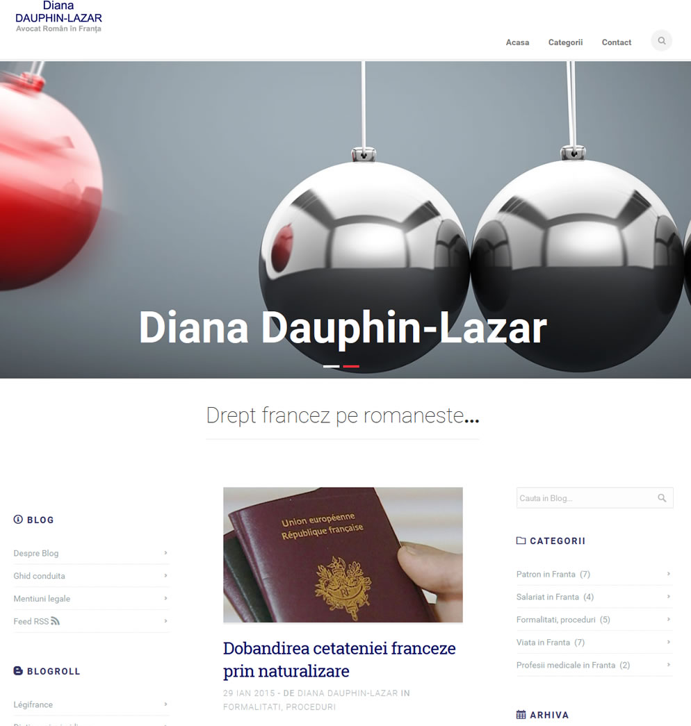 Pagina start blog avocat roman in Franta Diana Dauphin