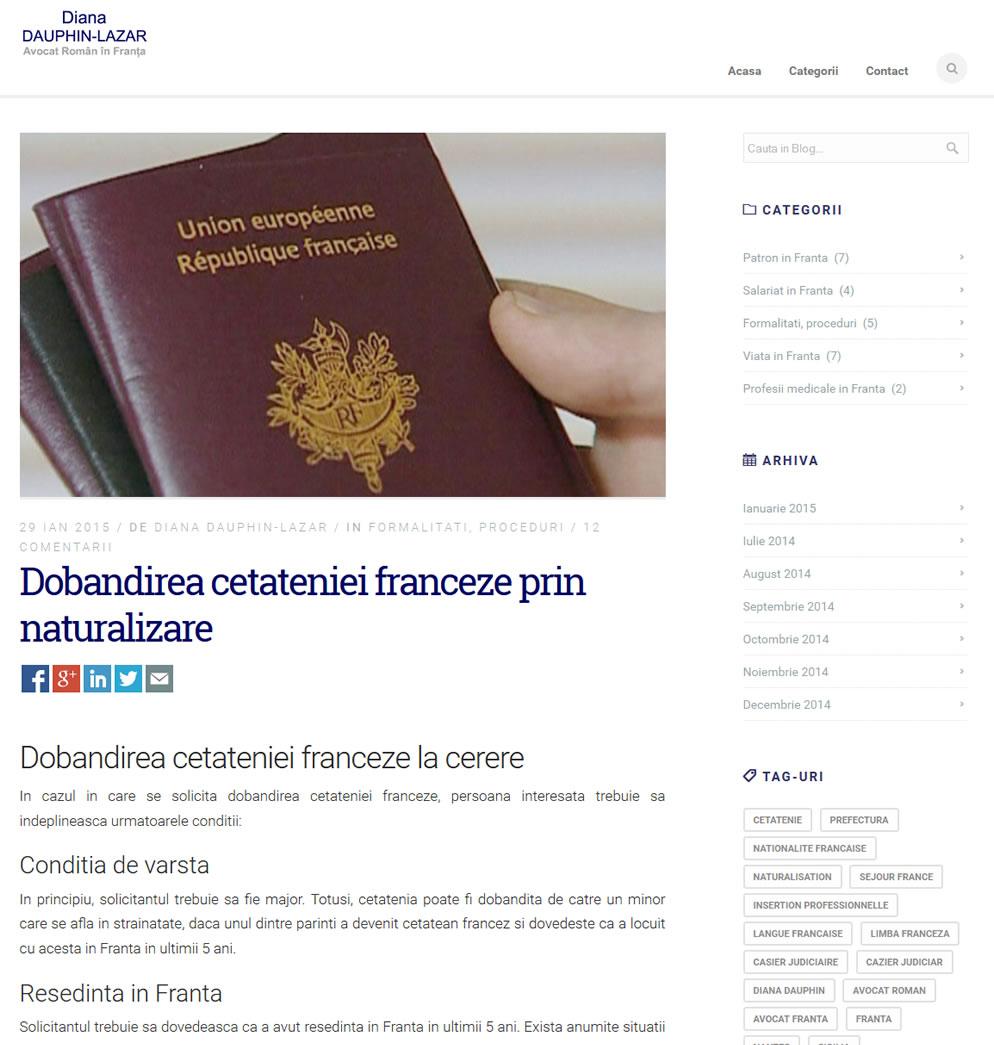 Pagina postare blog avocat roman in Franta