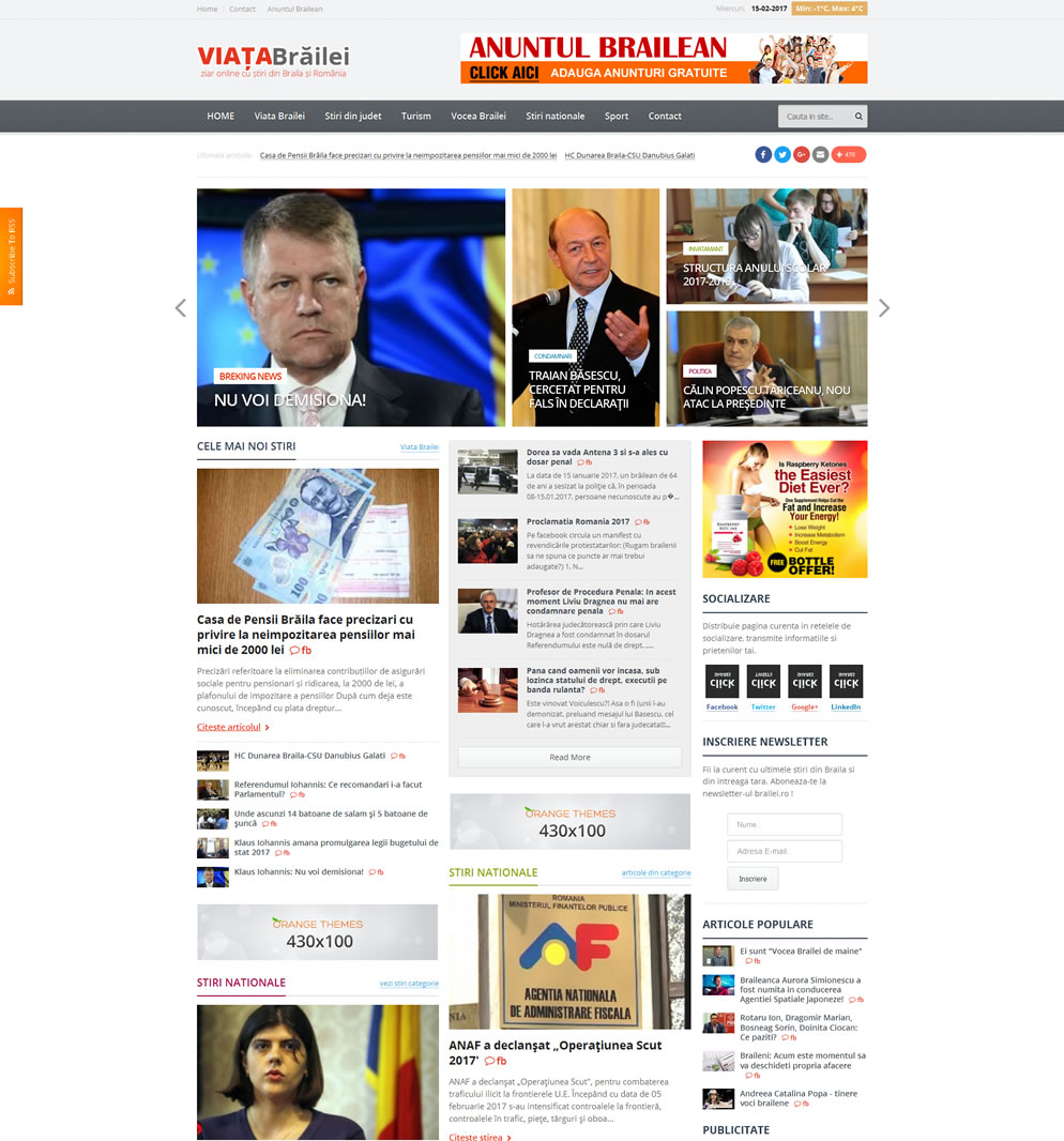 Homepage ziar online Viata Brailei