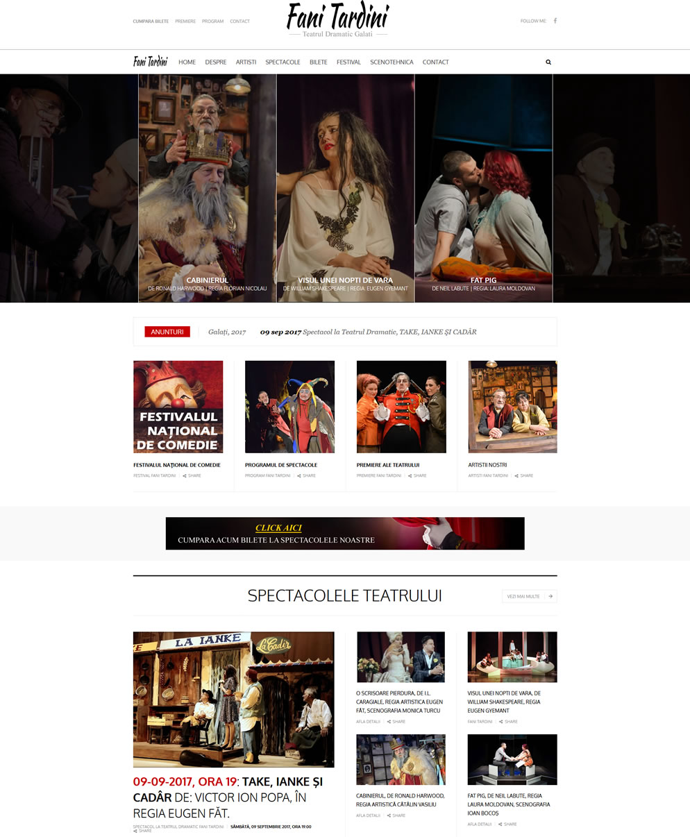 Homepage website Teatrul Dramatic Fani Tardini