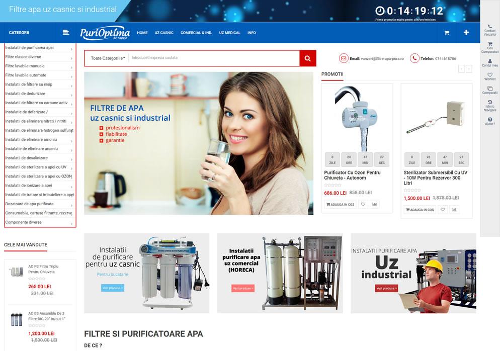Homepage website www.filtre-apa-pura.ro