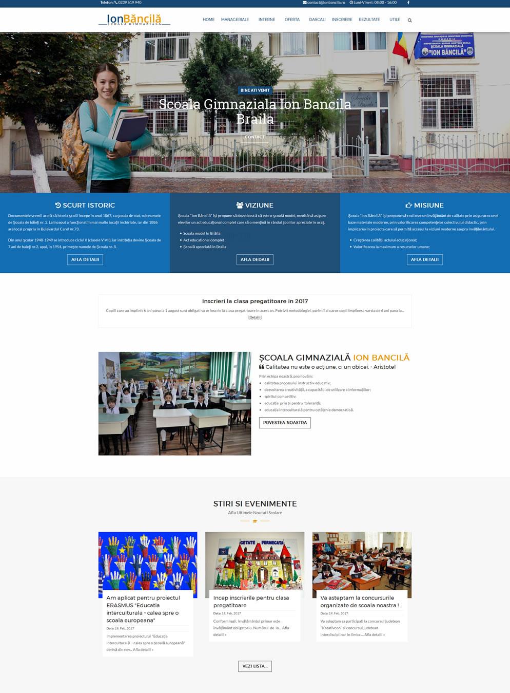 Prima Pagina website Scoala Ion Bacila  Braila