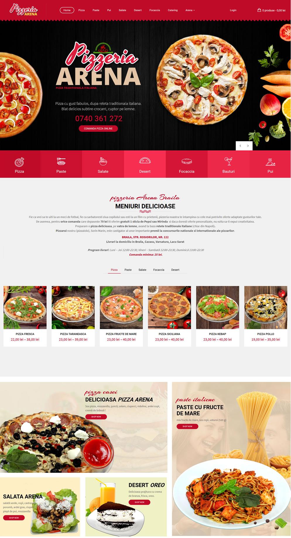 Pagina start website Pizzeria Arena Braila